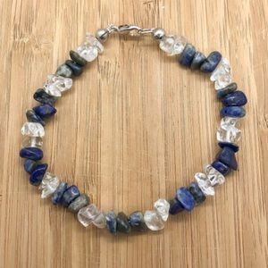 Lapis Lazuli Crystal Chip Bead Bracelet With Clasp